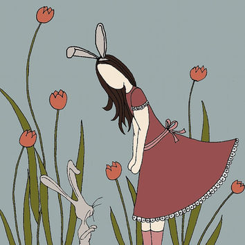 Girl With Bunny Ears Meets Bunny In by sweetmelodydesigns on Etsy