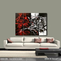 "Modern Abstract Painting, Original Abstract Art Black White Red Gray Textured Acrylic Painting by Osnat - MADE-TO-ORDER - 48""x36"""