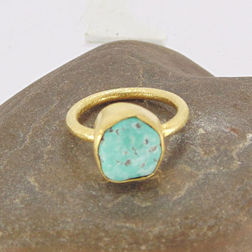 Turquoise Ring - Stacking Ring - Gold Vermeil Ring - Rough Stone Ring - Handcrafted Ring - Solid Brass Ring - Engagement Ring - Gift For Her