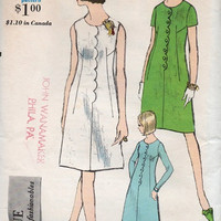Retro Mod Mini Dress 60s Vogue Sewing Pattern A-line Scallop Detail Sleeve Variations Mad Men Secretary Style Dress Uncut Bust 34