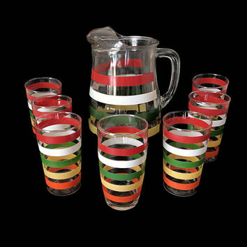 1950s Vintage Anchor Hocking Glass Pitcher Set Fiesta Bands Seven Glasses Tumblers Stripes Summer Ice Tea Lemonade Pitcher Vintage Kitchen