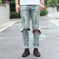 Men's Hip Hip Skinny Pencil Denim Destroyed Distressed Ripped Jeans