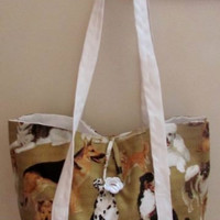 SALE!!! Dogs and More Dogs Cotton Tote Bag Purse Small