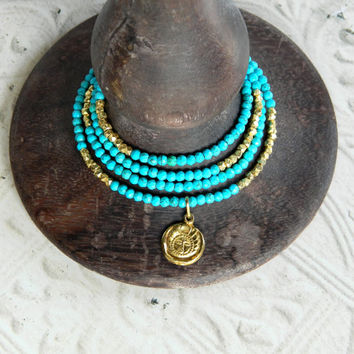"""Natural, genuine blue turquoise gemstone necklace with vermeil gold nuggets, vermeil gold pendant, spring clasp w/  2"""" extender chain"""