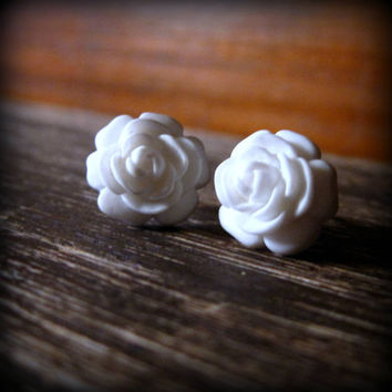 Rose Studs Rosette Post Earrings in White by prettypleasempls