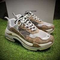 Best Online Sale Fashion Balenciaga Triple-S Sneaker 17FW Grey Brown Black Casual Shoes 656686W06G0-1001