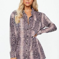 Missguided - Pink Snake Print Oversized Shirt Dress