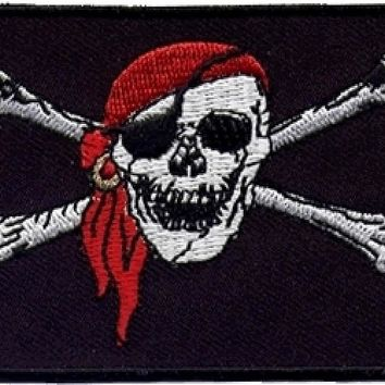 "Pirate Skull and Crossbones Flag Iron-On Patch [Pack of 2 - Black/White/Red - 2.25"" x 3.5""]"