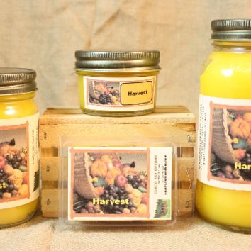 Harvest Scented Candle, Harvest Scented Wax Tarts, 26 oz, 12 oz, 4 oz Jar Candles or 3.5 Clam Shell Wax Melts