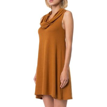 Cowl Neck Sleeveless Swing Dress, Camel
