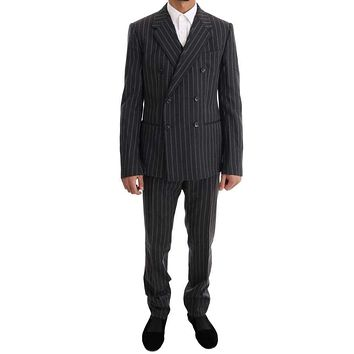 Dolce & Gabbana Gray Striped Double Breasted 3 Piece Suit