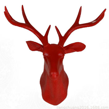 Plastic Deer Head Wall Hanging Decoration red
