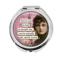 Funny Ladies Compact Mirror Humor Quote Silver Pink Purse Mirror Ladies Gift
