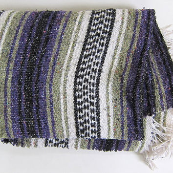 Vintage purple and gray Mexican Striped Ethnic Blanket