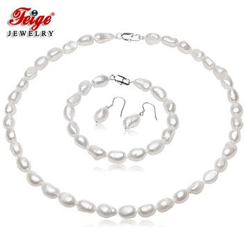 Feige Baroque Style 7-8mm White Natural Freshwater Pearl Jewelry Set 925 Sterling Silver Earrings Fine Jewelry(AA)