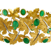 1970s Buccellati Emerald and Gold Bracelet