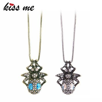 KISS ME Antique Gold Silver Color Crystal Spider Pendant Necklace Zinc Alloy Punk Vintage Necklaces for Women Brand Jewelry