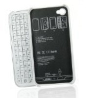LE White Bluetooth Slide Out Keyboard Hard Cover for Iphone 4