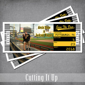 Baseball Save The Date Ticket Magnet, Sports Wedding Theme, Pittsburgh Pirates, Steelers, Boston Bruins, DIY Template, Bat Bar Mitzvah