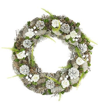 "19"" White Frosted Pine Cone Roses and Twigs Artificial Christmas Wreath - Unlit"