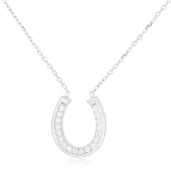 925 Sterling Silver Iced Out Horseshoe Pendant with an 18 Inch Link Necklace