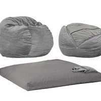 CordaRoy's - Charcoal Chenille Beanbag Chair - Full Sleeper