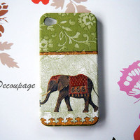 Elephant (Green) - iPhone 4 Case , iPhone 4s Case , iPhone 3 , iPhone3gs , Samsung galaxy S2 , iPhone Case , Case Handmade