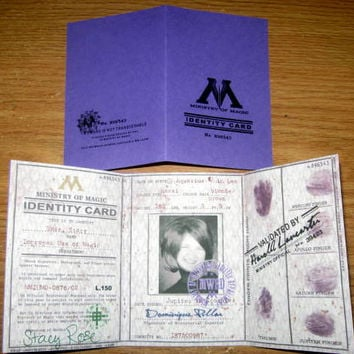 Ministry of Magic Identity (I.D.) Card Personalized for a Witch or Wizard