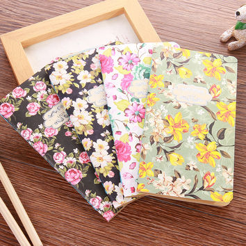 New Vintage Retro Flower Notebook Cute Kawaii Blank Paper Notepads For Kids Gift School Supplies Free Shipping 2009