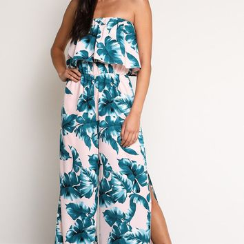 Tropical Lover Green Floral Pattern Strapless Flounce Slit Wide Leg Jumpsuit - (Pre-Order)