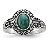 Sterling Silver Rhodium-plated & Oxidized w/Recon. Turquoise Ring