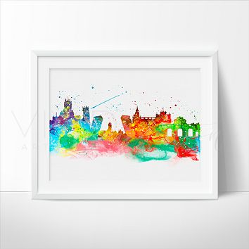 Madrid Skyline Watercolor Art Print
