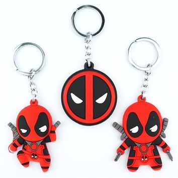 Deadpool Dead pool Taco Cartoon  Keychain Keyring Figure Silicone Pendants Double Sided Key holder Key Ring Cosplay Backpack Bag Accessories New AT_70_6
