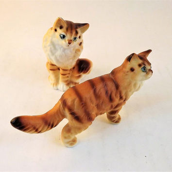 Tiger Striped Cat Figurine, Glass Orange Tabby Cat, Vintage Miniature Glass Kitten set, Pair of Porcelain Cats, Small Bone China Ceramic Cat