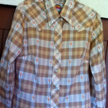 Vintage Cowgirl Pinup Perfection - Plaid Pearl Snap Shirt, Folk, Rockabilly, Hippie, Hipster, Boho