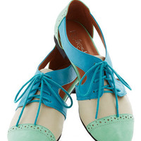 Cutout and About Town Flat in Mint | Mod Retro Vintage Flats | ModCloth.com