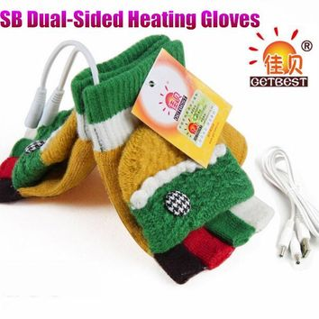 Winter Warm USB Dual-Sided Heating Gloves,Super Stretch Women Lady Girl Cute Lace Half-Finger Wool Knitting Glove,+Cable