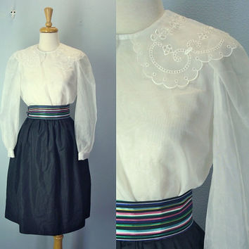 1970s Vintage Dress Eyelet Collar Sheer Black White Secretary S XS