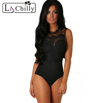 La Chilly 2017 teddies bodysuit sexy Rompers Sexy Women's Bodycon Jumpsuits Black Lace High Neck Cut Out Back Bodysuit LC32050