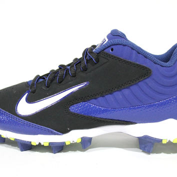 Nike Kid's Huarache Keystone Low BG Black/Blue Baseball Cleats