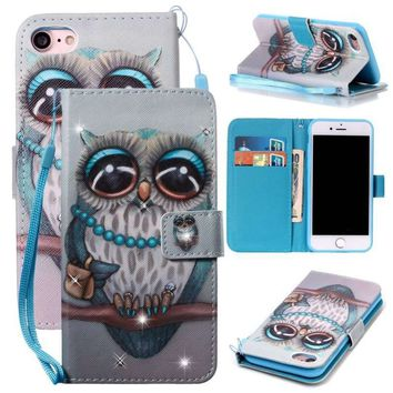 Pasting Diamond Cute Grey Owl Pattern Flip Leather Wallet Holster Card Holder Protection Mobile Phone Case For iPhone X/iPhone 8