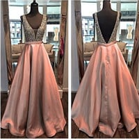 Sexy Brown Prom Dresses 2016 Long A-line V Neck Beaded Crystals Teens Evening Prom Party Gowns Sparkly  vestido de festa