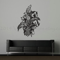 Native American chief with animal spirits design wall decal, wall sticker, decal, graphic, vinyl decal, sticker, vinyl graphic wall decal