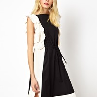 See by Chloe Dress with Frilled Contrast - Black / white