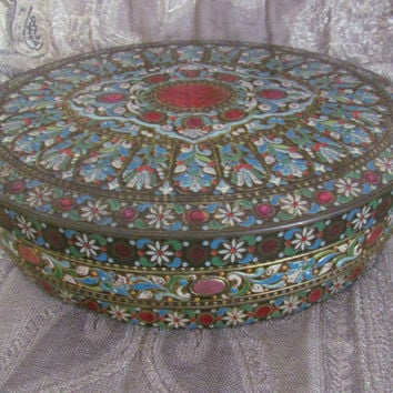 Baret Ware Tin Oval  Tin Jewel Tone Tin Cookie Storage Container