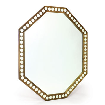 Billiards Wood and Bone Mirror