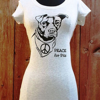 Peace for Pits shirt in Oatmeal  Sizes S  3X by TheRescueShop