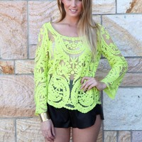 Yellow Lace Long Sleeve Mesh Top