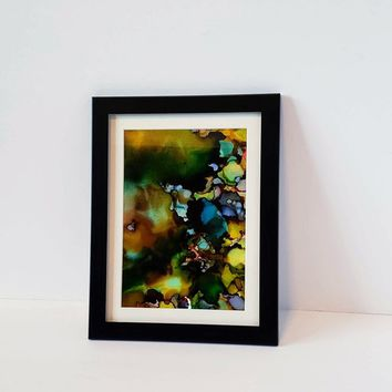 Alcohol Ink on Yupo Paper.  Beautiful Abstract Wall Art that is Multicolored, 5x7 Size. Ink Painting, Yupo Paper Art.