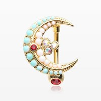 Golden Vintage Turquoise Crescent Moon Reverse Belly Button Ring